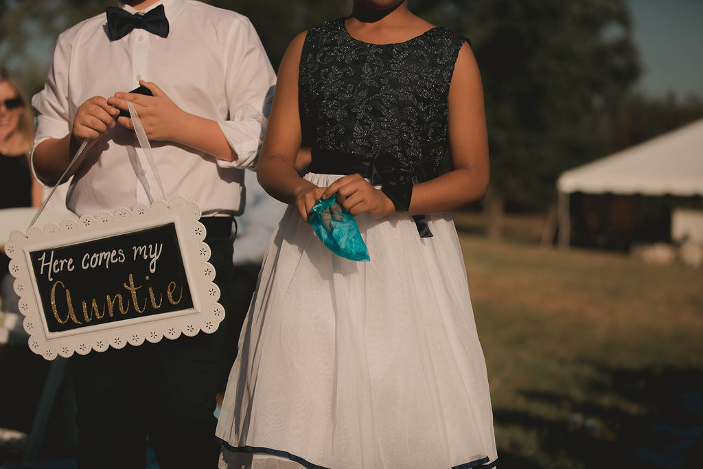 Wedding ceremony sign: Romantic Outdoor Wedding at Reunion Stay