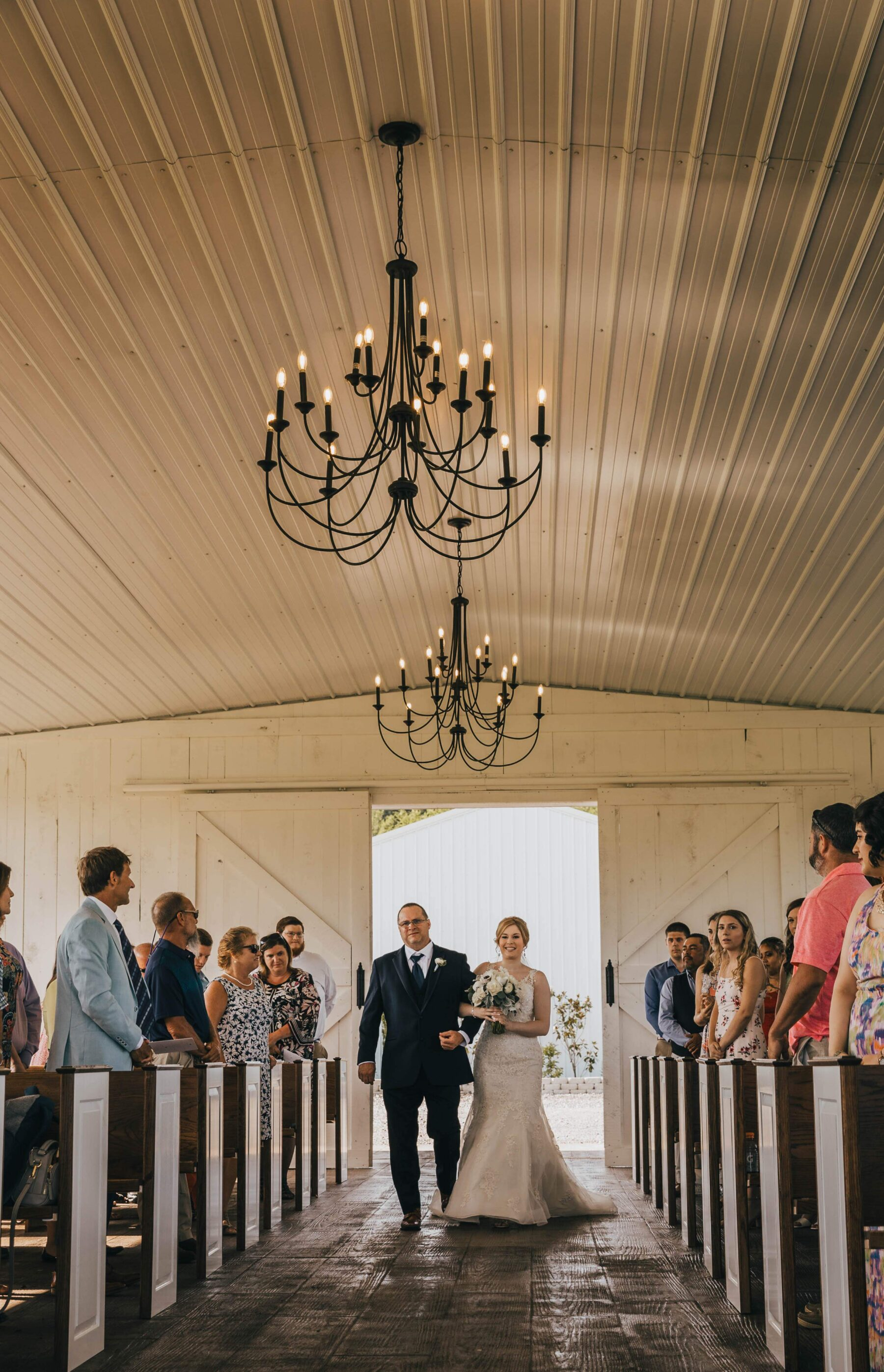 Bride escorted down the aisle by her father: White Dove Barn Wedding by Grace Upon Grace Photography featured on Nashville Bride Guide