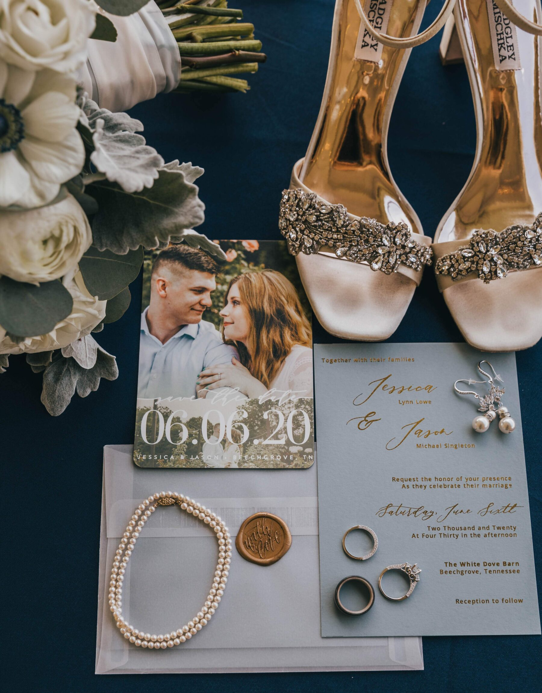 Bridal shoes and wedding invitations: White Dove Barn Wedding by Grace Upon Grace Photography featured on Nashville Bride Guide