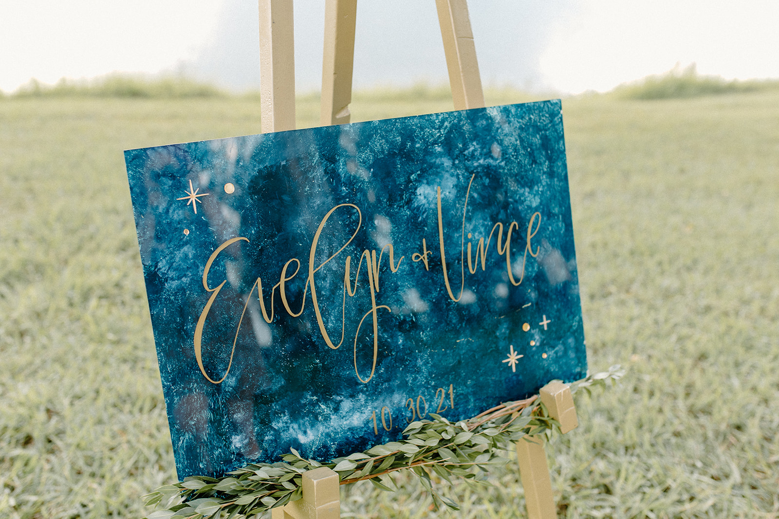 Celestial blue and gold wedding sign