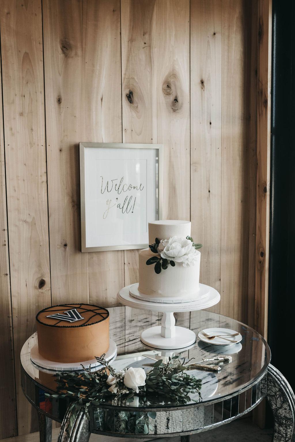 wedding cake and dessert display