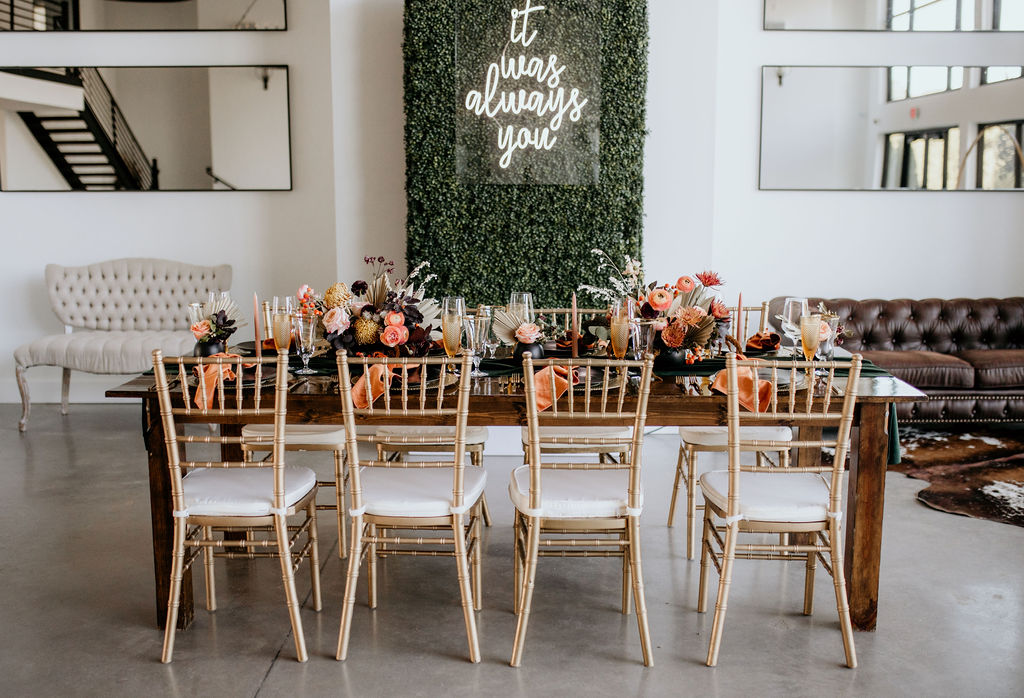 Colorful and modern wedding tablescape