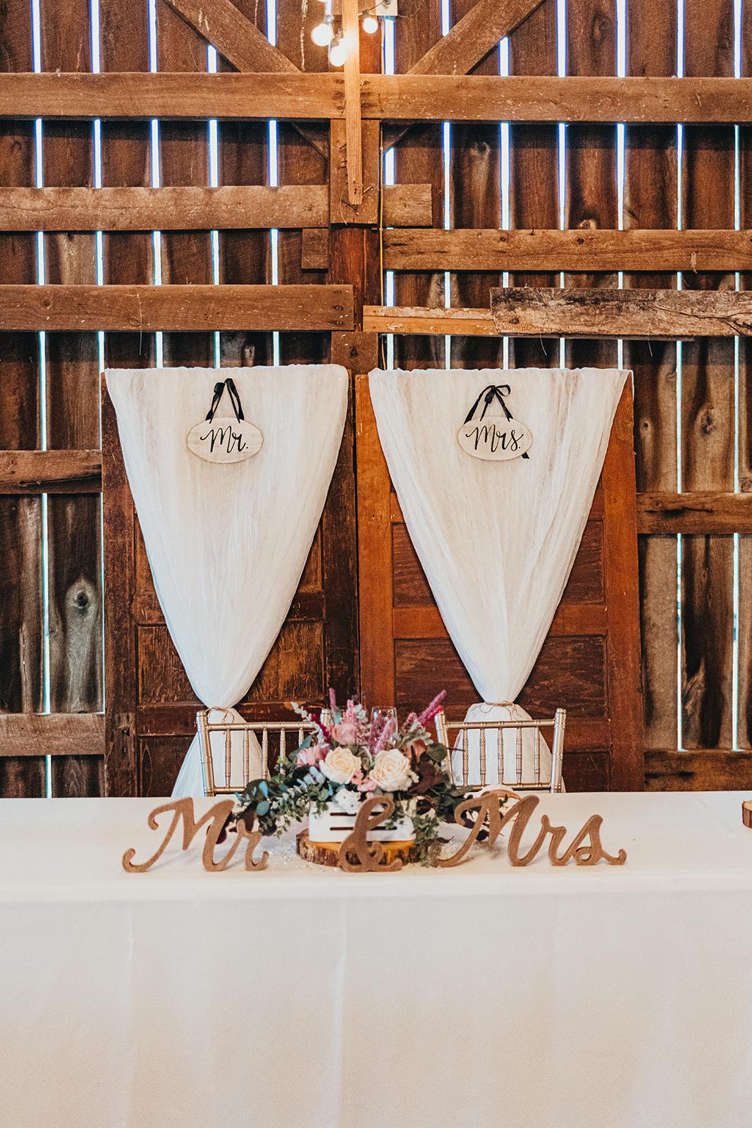 Rustic wedding sweetheart table