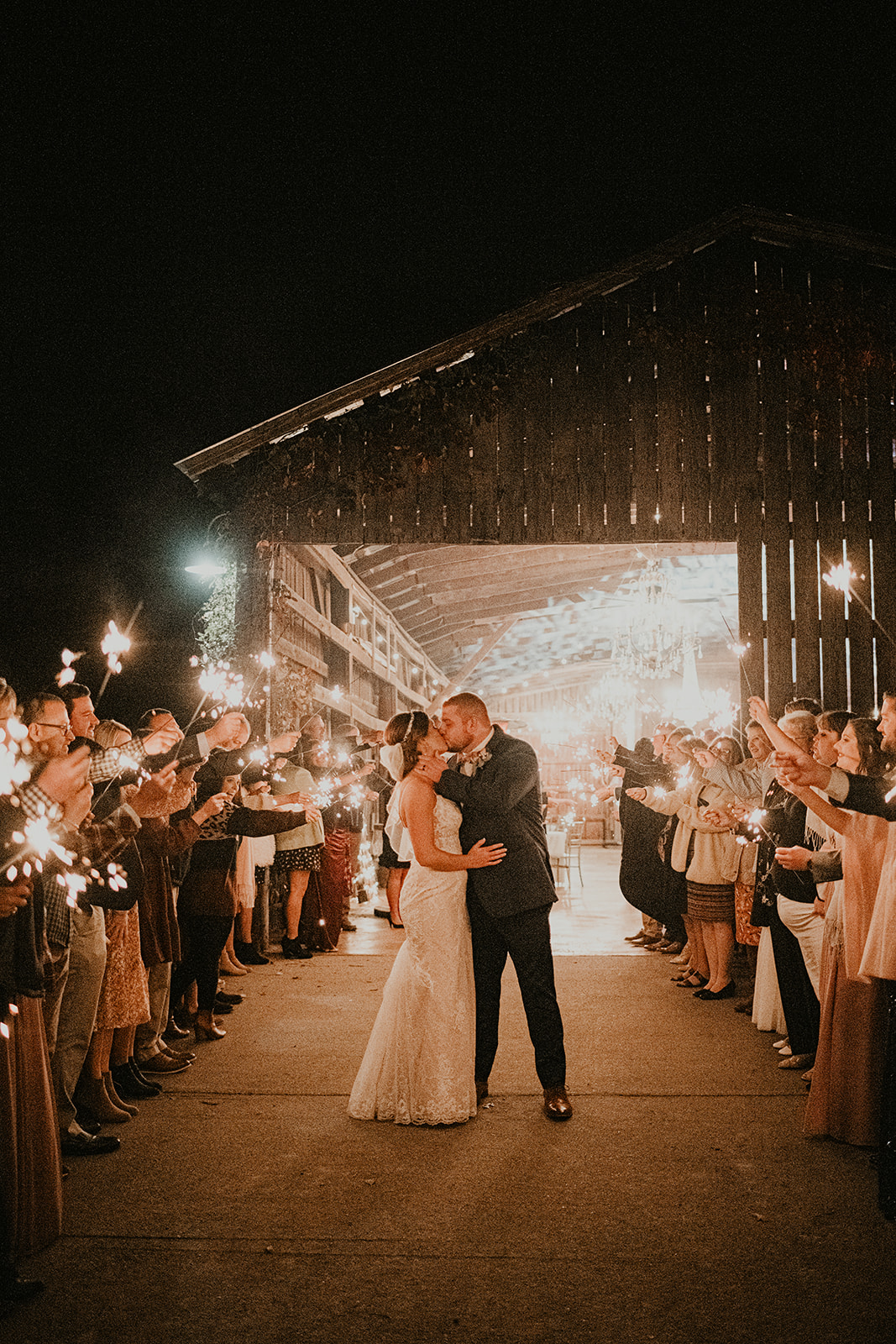Sparkler wedding exit at Burdoc Farms