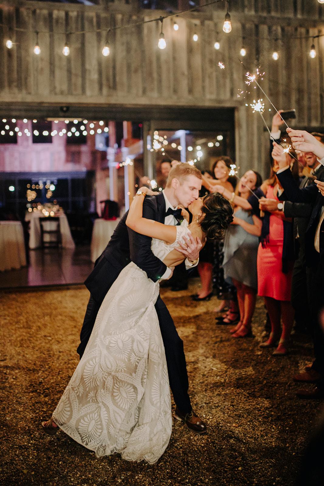 Sparkler wedding exit at Green Door Gourmet