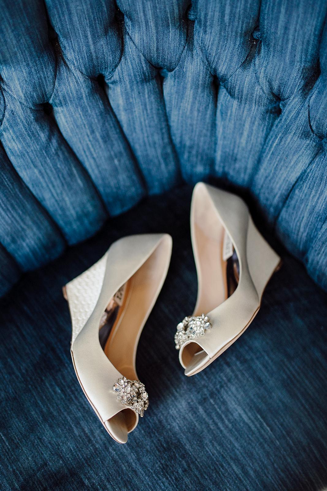 Peep toe bridal shoe wedges