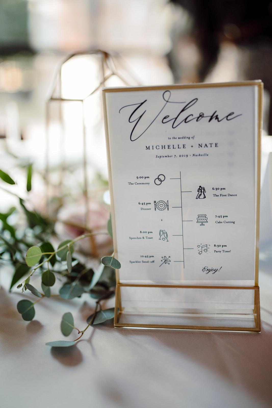 Gold framed wedding program