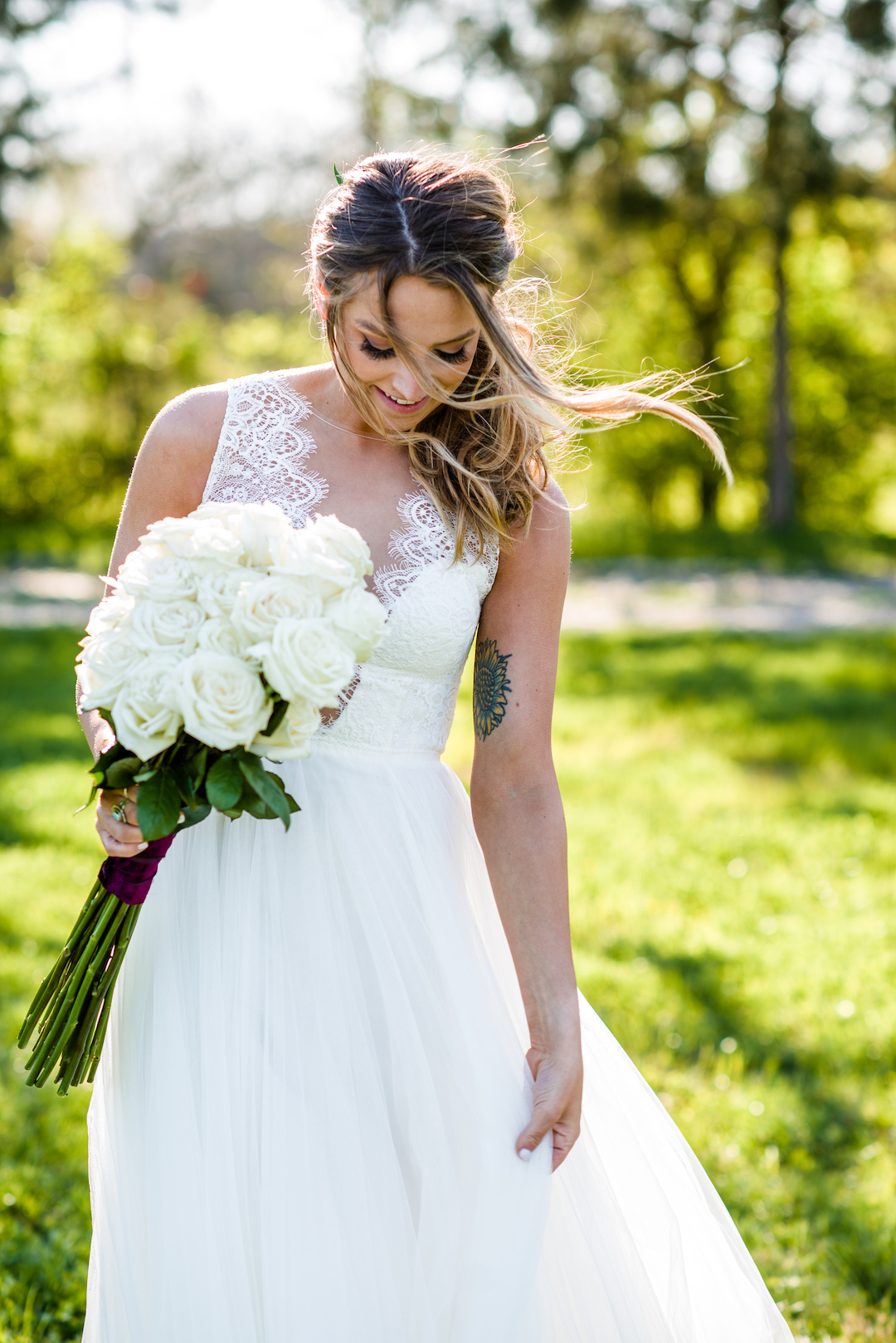 Large white floral wedding bouquet