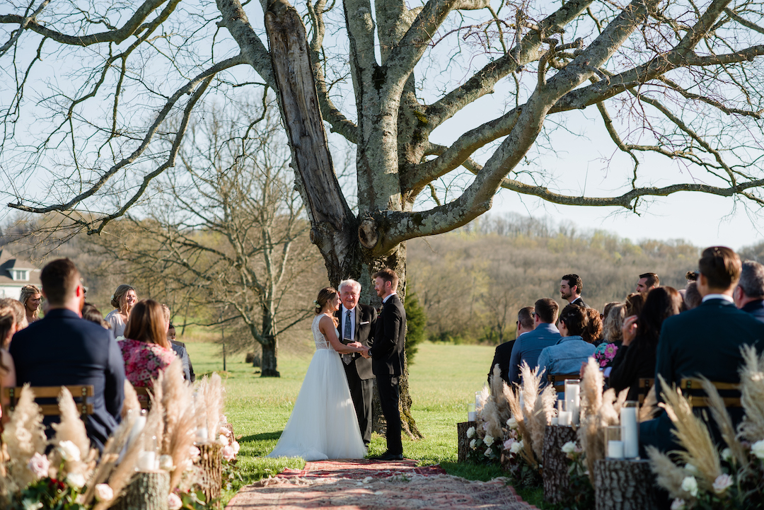 Outdoor southern wedding ceremony
