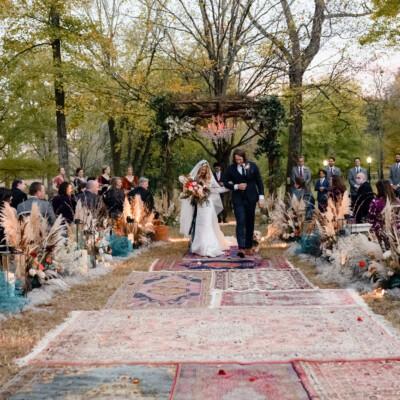 Outdoor Halloween wedding at The Estate at Cherokee Dock