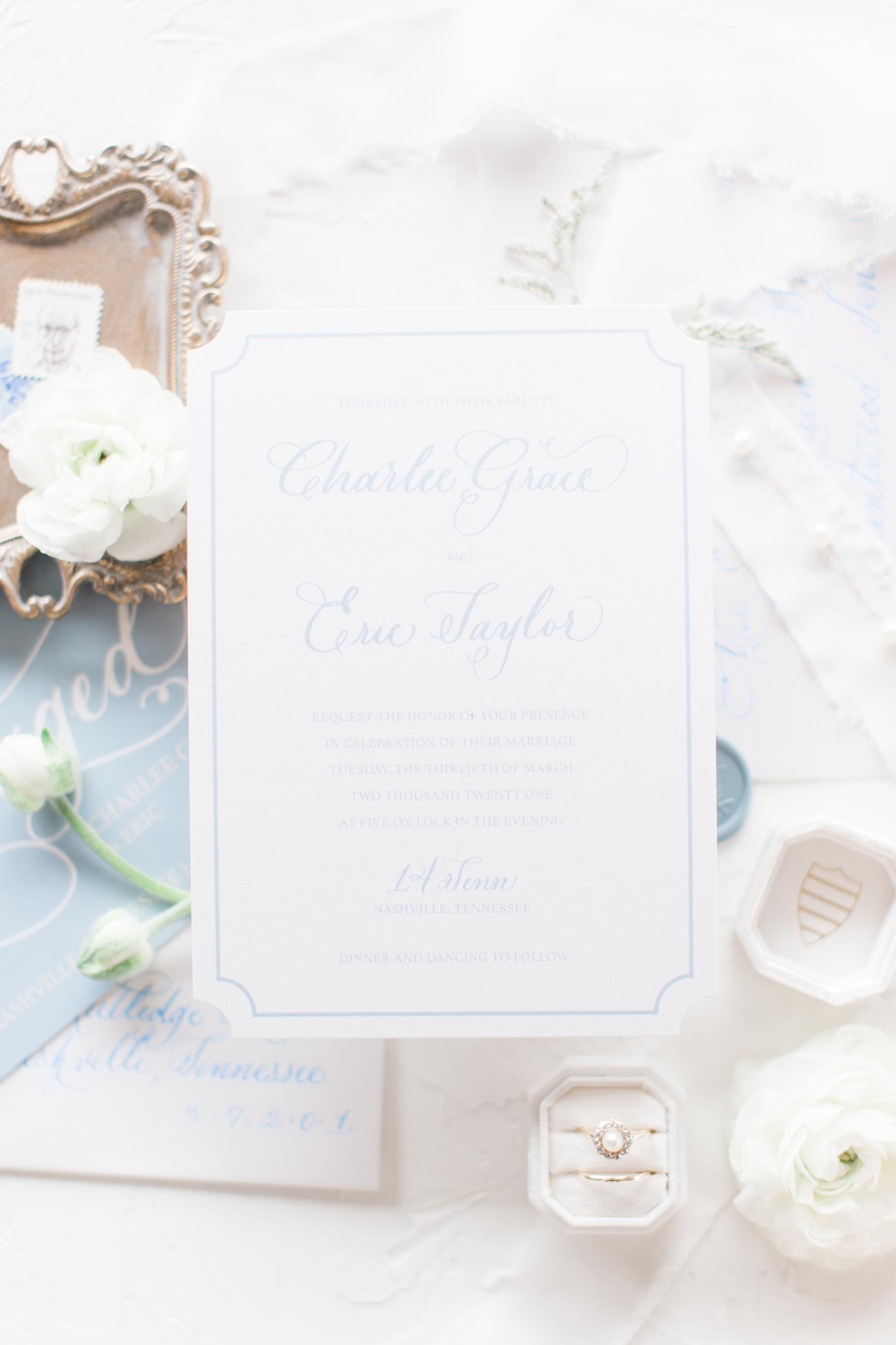 White Ink Calligraphy wedding stationery