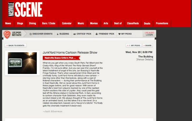 JunkYard Horns Nashville Scene Critics Pick