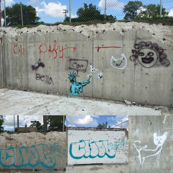 Graffiti tags Statue of Liberty street art Nashville