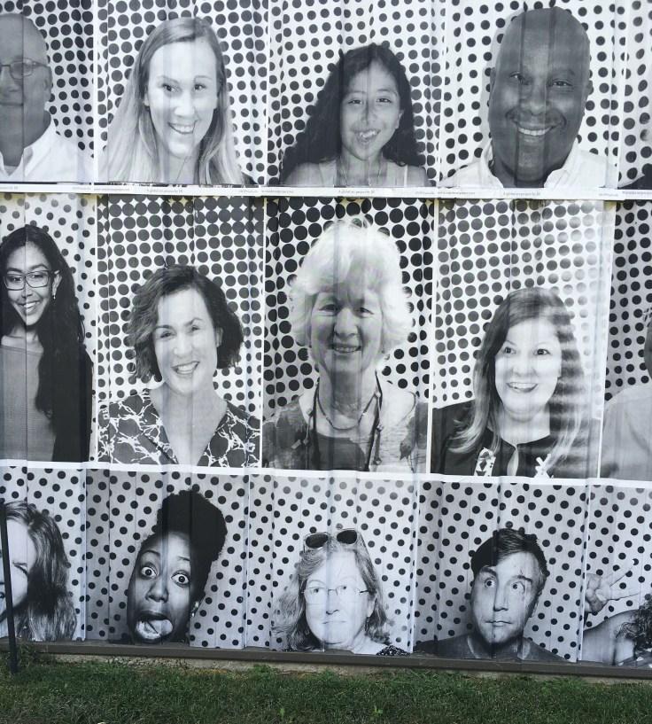 Sticker portraits street art mural Nashville
