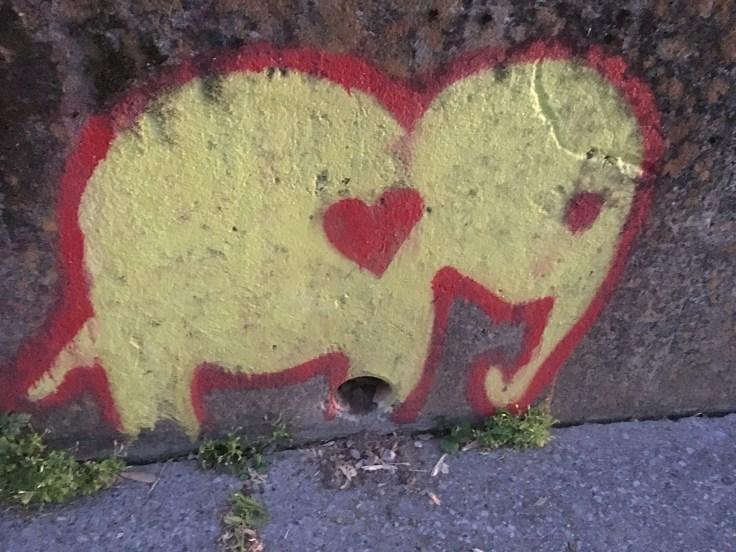 Tiny elephant mural street art East Nashville