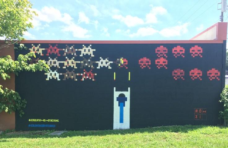 Space Invaders Batman mural street art Nashville