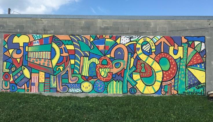 Colorful street art mural East Nashville