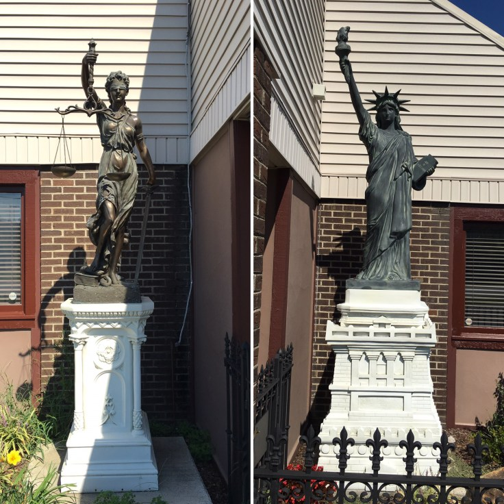 Justice and Liberty statues street art Nashville