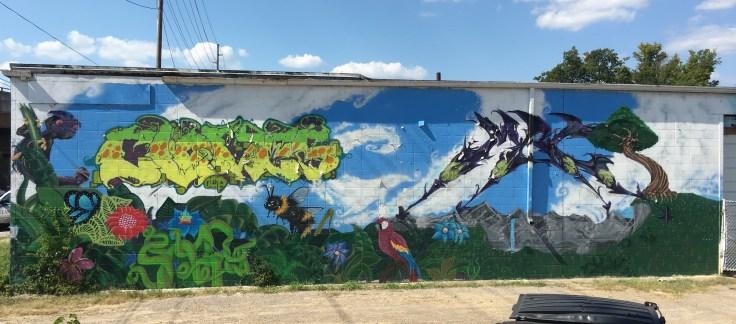 Tropical landscape mural street art Nashville