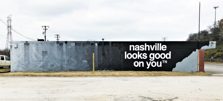Street art mural black white and grey Nashville
