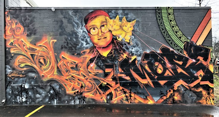 Bubbles mural graffiti street art Nashville
