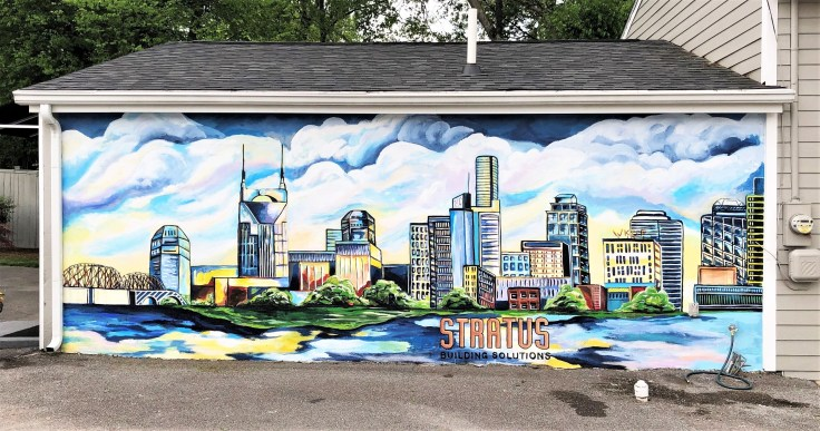 Skyline mural street art Nashville