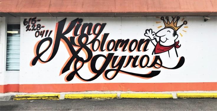Solomon Gyros sign mural street art Nashville