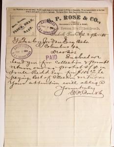 GP Rose Letter 1885 Nashville