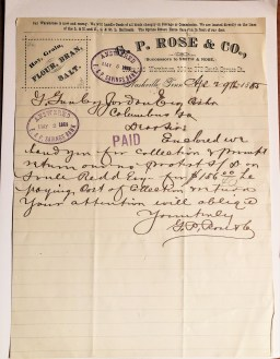 GP Rose Letter 1885 Nashville