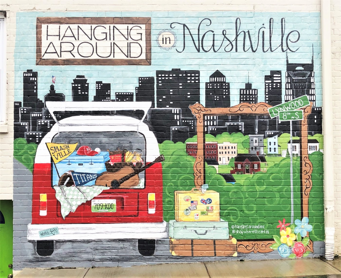 Hanging Around Mural street art Nashville