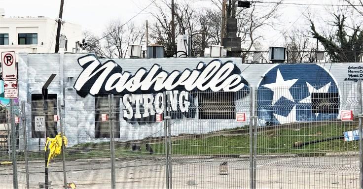 Nashville Strong mural street art tornado