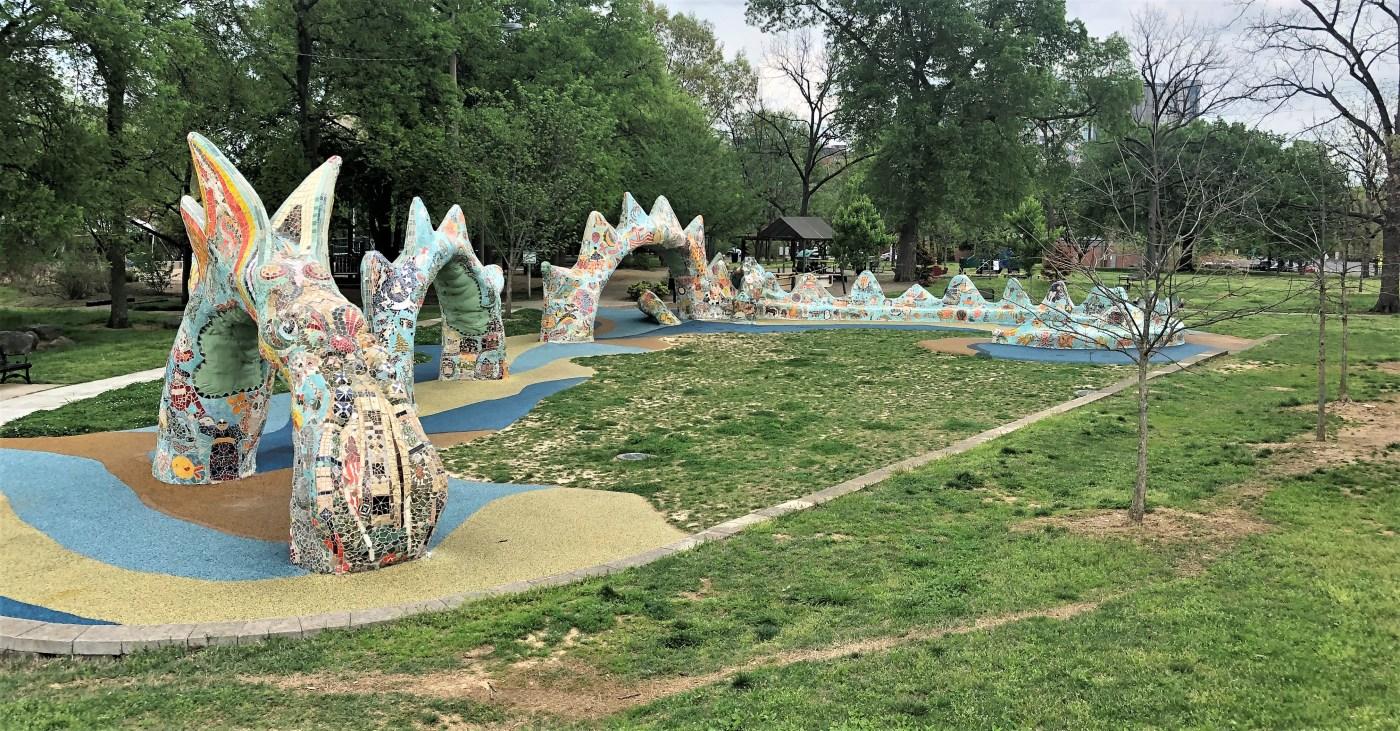 Sea Dragon sculpture mosaic Nashville street art