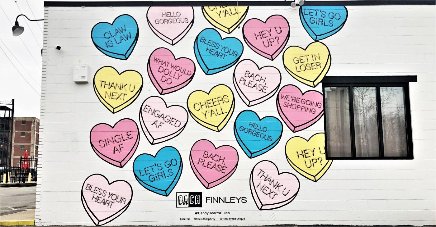 Candy Hearts Mural Nashville street art
