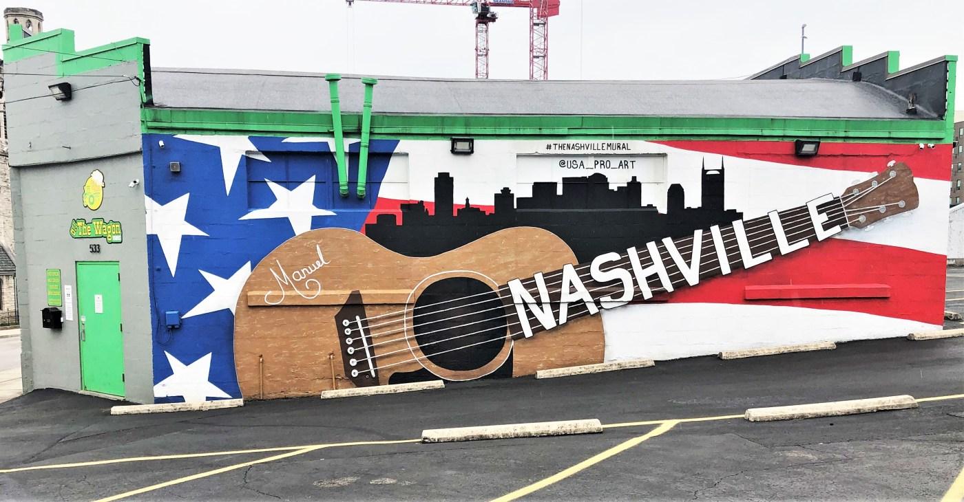 Guitar Skyline Mural Nashville Street art