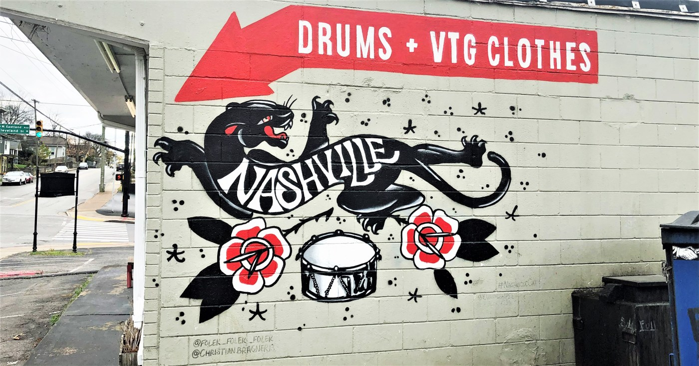 Drum Cat mural Nashville street art