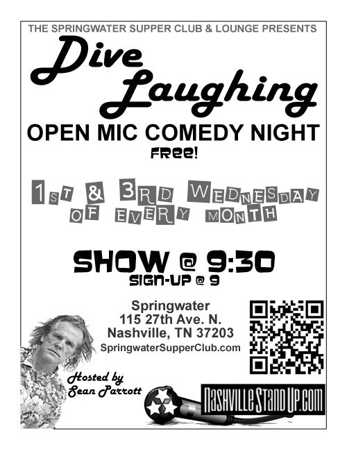 Dive Laughing open mic at Springwater - 1st & 3rd Wed every month