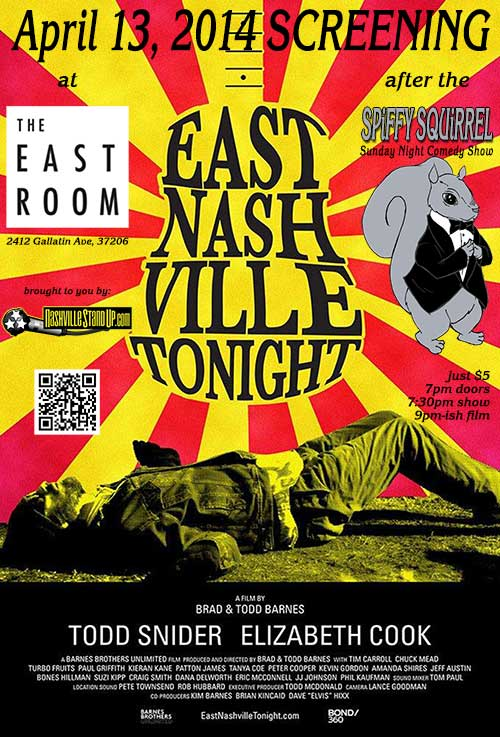 East Nashville Tonight screening at The East Room 4/13 after SPiFFY SQUiRREL
