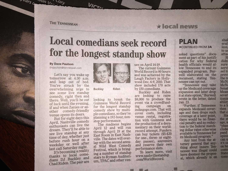 1/28/2015 Tennessean write-up of NashvilleStandUp's Guinness World Record attempt.