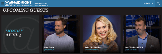 Emily Fleming on @Midnight 4/4/2016 web promo image