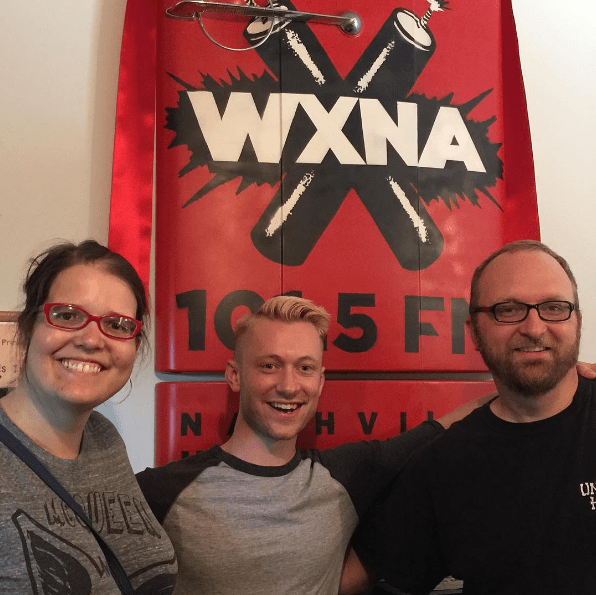 Alex Poloskey hangs out in the WXNA studio with Chad Riden and Mary Jay Berger