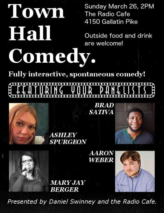 Town Hall Comedy at Radio Cafe 2pm 3/26/2017