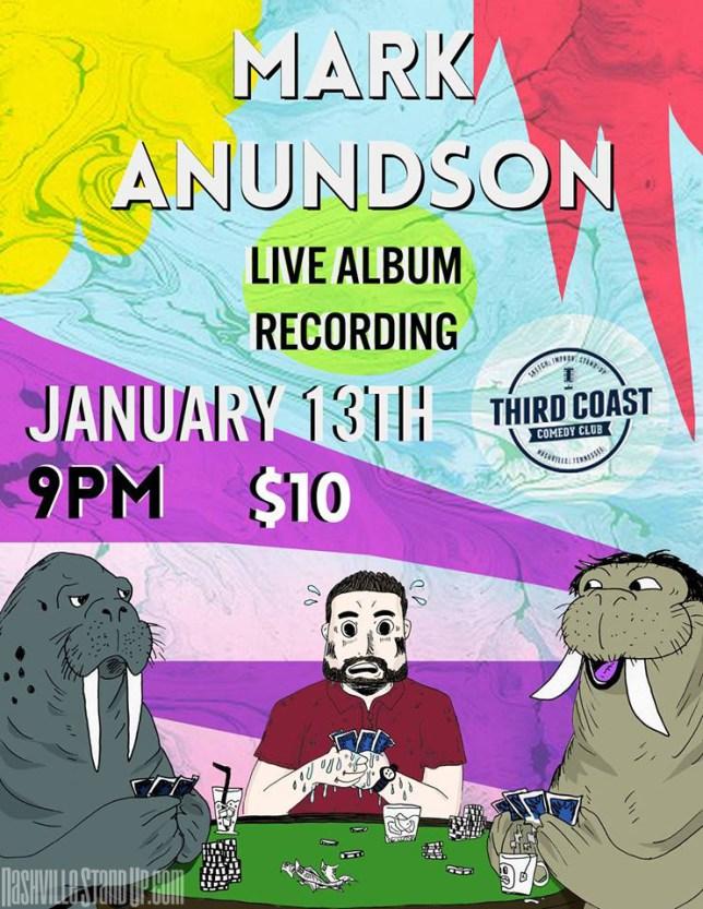 Mark Anundson live album recording at Third Coast 1/13/2018