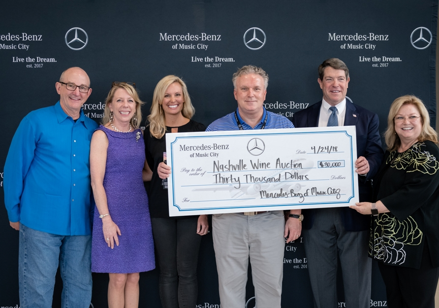 Nashville-Wine-Auctions-Mercedes-Benz-of-Music-City-Tom Black, Christie Wilson, Rahel Sloane, Edwin Vickery, Bill Piper, Holly Whaley Small