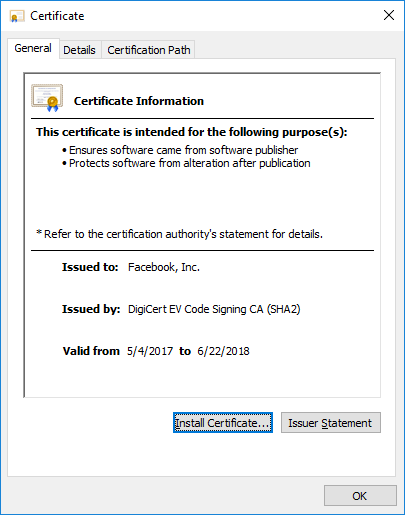 Facebook malicious software scanner certificate