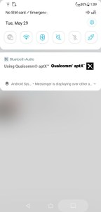 ASUS ZenFone 5 Qualcomm aptX notification