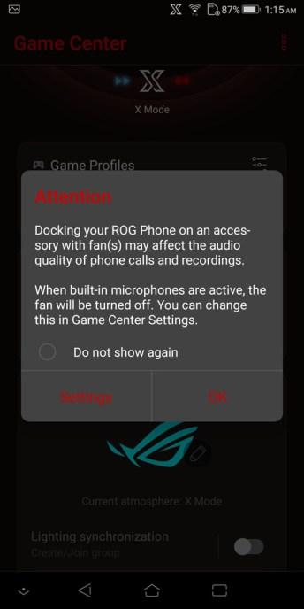 ASUS ROG Phone AeroActive Cooler microphone setting