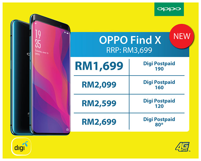 Get The Oppo Find X For Rm1 699 With Digi Postpaid 190 Nasi Lemak Tech