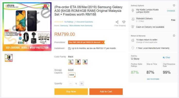 Samsung Galaxy A30 Lazada pre-order