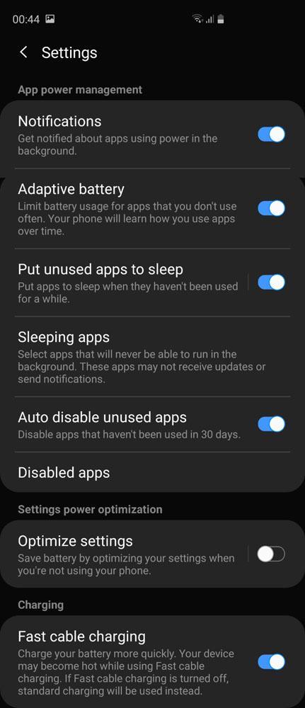 Samsung Galaxy S10 Galaxy S10+ battery settings Wireless PowerShare