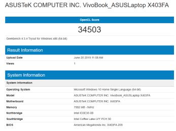 ASUS VivoBook K403 GeekBench GPU